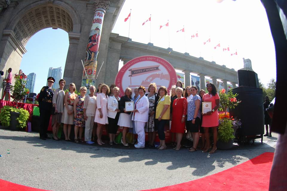 Group photo inside Princes' Gates at Exhibition Place, Toronto with CNE Women of Distinction 2016