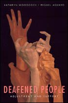 """Book cover, titled """"Deafened People: Adjustment and Support"""" by Kathryn Woodcock and Miguel Aguayo. Black background showing three superimposed images of hands producing the signs SUPPORT ADJUST GROW"""